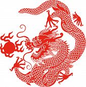 stock photo of dragon  - illustration drawing of red dragon playing ball - JPG