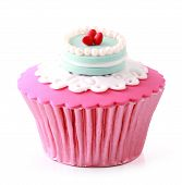 image of sugarpaste  - Sweet cupcake delicious isolated over white background - JPG