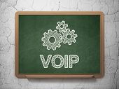 Web development concept: Gears and VOIP on chalkboard background