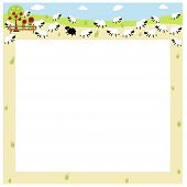image of farm animals  - an illustration of a border field full of sheep - JPG