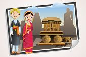 pic of karnataka  - easy to edit vector illustration of wedding couple of Karnataka - JPG
