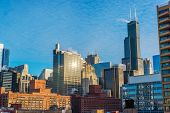 stock photo of willy  - A daytime cityscape view of downtown Chicago - JPG