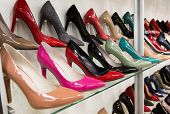 stock photo of woman boots  - Rows of beautiful elegant colored women - JPG