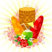 foto of tiki  - easy to edit vector illustration of tiki mask with surfboard - JPG