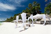 picture of wedding arch  - Wedding arch decorated on caribbean beach with white sand - JPG
