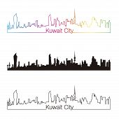 stock photo of kuwait  - Kuwait City skyline linear style with rainbow in editable vector file - JPG