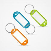 Vector Illustration Of Orange, Green, Blue Key Tags