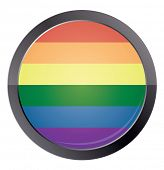 Round button with rainbow flag isolated on white background. vector illustration