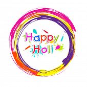 Indian festival Happy Holi celebrations sticker, tag or label on colourful lines background.