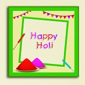 Indian festival Happy Holi celebrations concept with beautiful colours in a green frame on abstract