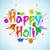 picture of holi  - Indian festival Happy Holi celebrations concept with stylish hanging text on splash background - JPG