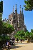 BARCELONA, SPAIN - AUGUST 18: Tourists at La Sagrada Familia on August 18, 2013 in Barcelona, Spain.