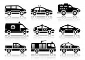 stock photo of truck-cabin  - Set of service automobiles black icons with reflection - JPG