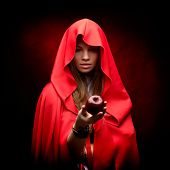 picture of cloak  - beautiful woman with red cloak holding apple - JPG