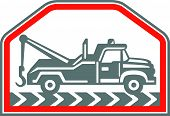 picture of towing  - Illustration of a tow wrecker truck lorry viewed from rear set inside hexagon shape done in retro style on isolated background - JPG