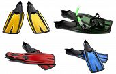 stock photo of fin  - Set of multicolored swim fins masks and snorkel for diving - JPG