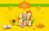 stock photo of ganesh  - illustration of statue of Lord Ganesha made of rock for Ganesh Chaturthi - JPG
