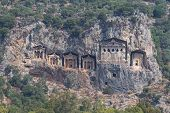stock photo of dalyan  - Kaunian rock tombs in Dalyan Ortaca Turkey - JPG