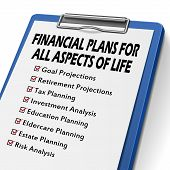 image of clipboard  - financial plans clipboard with check boxes marked for financial concepts - JPG