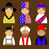 stock photo of national costume  - vector set of people in national costumes - JPG