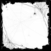 image of cobweb  - Halloween abstract background with black spiders illustration - JPG