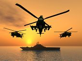 stock photo of military helicopter  - Computer generated 3D illustration with Apache Helicopters and Aircraft Carrier at sunset - JPG
