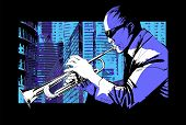 foto of trumpet  - Jazz trumpet player over a city background  - JPG