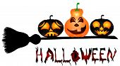 image of sweeper  - Pumpkins on a sweeper a beautiful vector illustration to Halloween - JPG