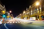 stock photo of liberte  - Avenue de la Liberte view at night in Luxembourg with road and lights - JPG