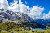 stock photo of lagos  - Lago di Fedaia and Marmolada Dolomites Italy - JPG