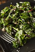 pic of sauteed  - Homemade Healthy Sauteed Swiss Chard with Garlic and Cheese - JPG