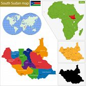 stock photo of sudan  - Administrative division of the Republic of South Sudan - JPG