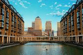 image of canary  - Canary Wharf business district in London at sunset - JPG