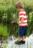 foto of tadpole  - A happy two year old boy sparks curiousity at a nearby culvert while searching for tadpoles frogs and fish - JPG