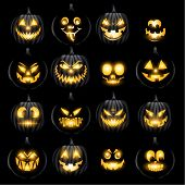 picture of jack-o-lantern  - Set of vector jack o lantern pumkins halloween faces - JPG