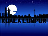 picture of kuala lumpur skyline  - Kuala Lumpur skyline reflected with text and moon vector illustration - JPG