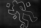 stock photo of murders  - On the blackboard with chalk drawn silhouette of the murdered - JPG