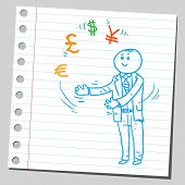 picture of juggler  - Businessman juggler with currency signs - JPG