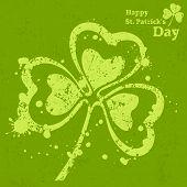 pic of clover  - Three leaf clover grunge on green vector illustration for St - JPG