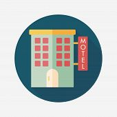 picture of motel  - Building Motel Flat Icon With Long Shadow - JPG