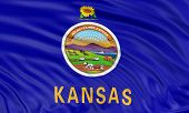 stock photo of kansas  - Rendering of flag of the US state of Kansas with fabric texture - JPG