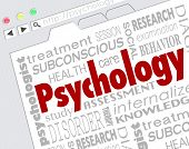 foto of psychological  - Psychology word on a website screen to illustrate online research for diagnosis or treatment of mental health condition - JPG
