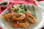 stock photo of chinese parsley  - Chinese style stir fried butter prawn or shrimp  - JPG