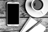 picture of pen  - Coffee break top view black and white image - JPG