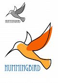 image of hummingbirds  - Abstract outline sketch of flying hummingbird with orange plumage and blue caption Hummingbird above them smaller duplicate in gray tones for logo or emblem design - JPG