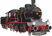 picture of steam  - A Vintage Black and Red Steam Locomotive isolated on white - JPG