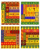 foto of primitive  - Ethnic geometric pattern with traditional african ornaments including primitive hunters - JPG
