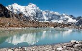 foto of cho-cho  - hungchhi peak and Chumbu peak above Ngozumba glacier from Cho Oyu base camp  - JPG