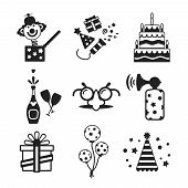 stock photo of beep  - Set of vector monochrome celebration icons in flat style like pie champagne wineglass gift box air balloon funny mask cap and jack in the box - JPG
