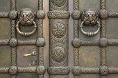 stock photo of leipzig  - Bronze gate of the Russian Memorial Church  - JPG